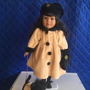 Winter Porcelain Doll with Scottie Dog - Avon